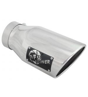 aFe MACH Force-XP 304 SS Right Side Single Wall Polished Exhaust Tip 4in Inlet x 6in Outlet x 12in L