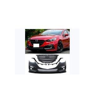 Ikon Motorsports 14-16 Mazda 3 KS Style Black Front Bumper Conversion With Grille + Fog Lights