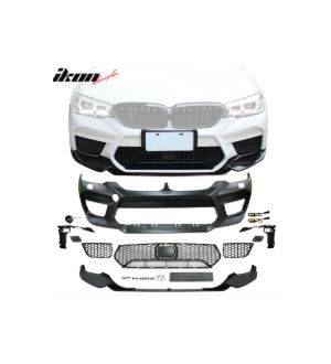 Ikon Motorsports Fits 17-20 BMW G30 Sedan M5 Style Front Bumper Cover w/ Lip & Fog Cover
