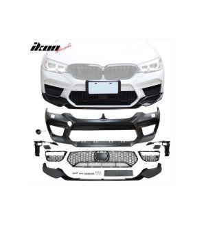 Ikon Motorsports Fits 17-20 BMW G30 Sedan M5 Style Front Bumper Conversion w/ Lip & Fog Cover