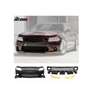 Ikon MotorsportsFits 15-19 Dodge Charger Front Bumper Cover & Fog Lights & Upper Lower Grilles
