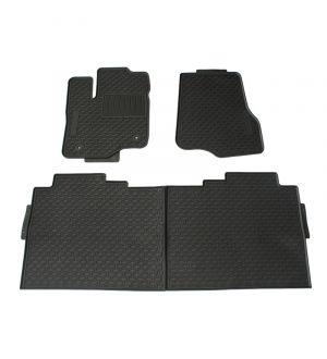 Ikon Motorsports 09-14 Ford F150 Latex Front Rear Floor Car Mats Black All Weather 4PCS