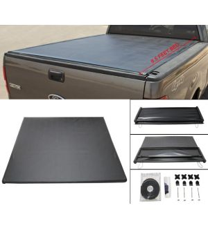 Ikon Motorsports 04-08 Ford F-150 05-08 Mark LT 6.5 Feet Bed Tri-Fold Soft Tonneau Cover Black