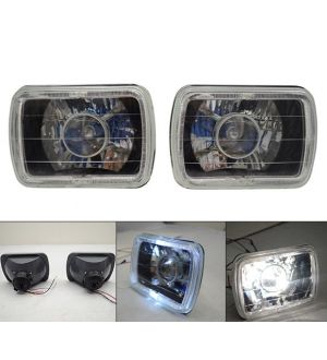 Ikon Motorsports 7X6 Square Projector Halo Headlight Running Driving Lamp Glass Lens & H4 Bulb