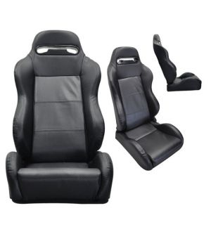 Ikon Motorsports Jaguar XJ8 Carbon Fiber Look PVC Leather Pair Of Racing Seats
