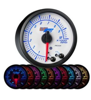 Glowshift White Elite 10 Color Tachometer Gauge