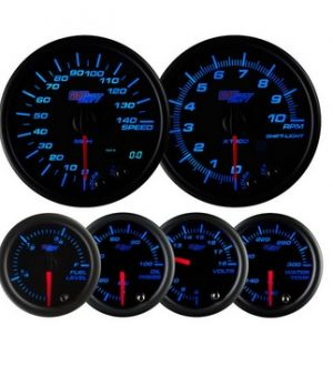 Glowshift Black 7 Color Custom Dashboard Gauge Set