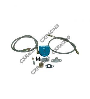 CX Racing Universal Oil Filter + Feeding Line Kit , Braided Aluminum For T3 T4 T04E T60 T61 T70 Turbo