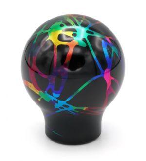 BilletWorkz Black with Rainbow Splash Shift Knob