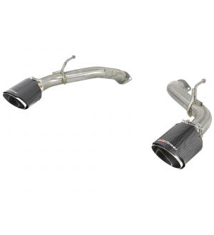 aFe POWER Takeda 2.5in 304 SS Axle-Back Exhaust w/ Carbon Fiber Tips 17-19 Infiniti Q60 V6-3.0L (tt)
