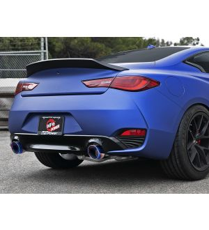 aFe POWER Takeda 2.5in 304 SS Axle-Back Exhaust w/ Blue Flame Tips 17-19 Infiniti Q60 V6-3.0L (tt)