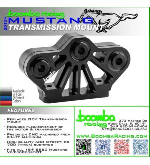 Boomba Racing 2011 + Mustang GT Transmission Mount - 70D Race Spec - Black Anodize