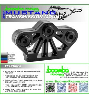 Boomba Racing 2015 + Mustang V6/Ecoboost Transmission Mount - 60D Street Spec - Black Anodize