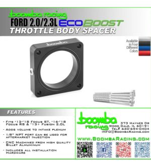 Boomba Racing Ford Focus RS 2.0/2.3 Throttle Body Spacer-Black