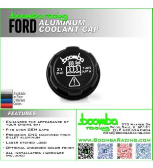 Boomba Racing Ford Focus ST Radiator Cover Cap - Blue Anodize