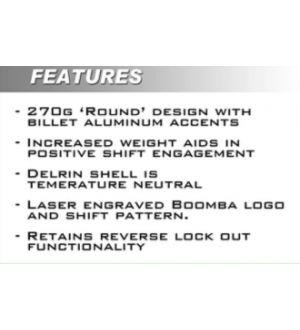Boomba Racing 2015+Subaru WRX STI White Delrin shift knob - Black Anodize