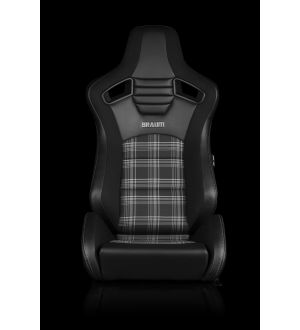 BRAUM ELITE-S SERIES SPORT SEATS - BLACK & GREY PLAID (GREY STITCHING) PAIR Universal - Planted Seat Bases and Mounting Hardware - 2013+FT86