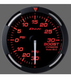 DEFI 52MM RED RACER BOOST GAUGE (WHITE NEEDLE)