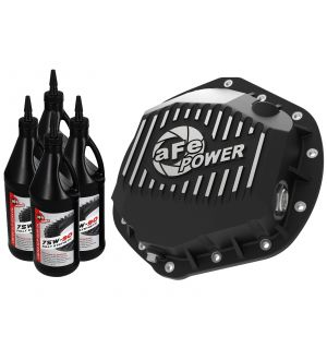 aFe Pro Series Rear Diff Cover Black w/ Machined Fins & Gear Oil 01-18 GM Diesel Trucks V8-6.6L (td)