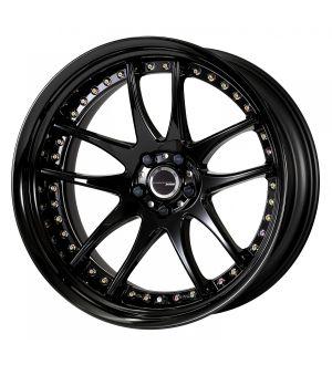 Work Wheels Emotion CR 3P 18x10 +98  5x114.3  Semi Concave - Black with Gloss Black Barrel (BLK-GBKB) - Full Reverse