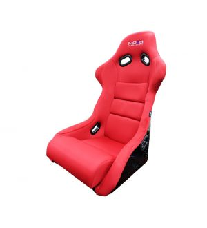 NRG Innovations Large Fiberglass Bucket Seat, Black FRP Backing, Red Cloth - NRG Logo
