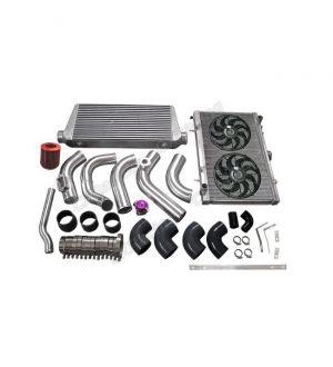 CX Racing Intercooler Piping Intake Radiator HardPipe Fan Kit For 2JZ-GTE 2JZ Swap 240SX S13 S14 Single Turbo