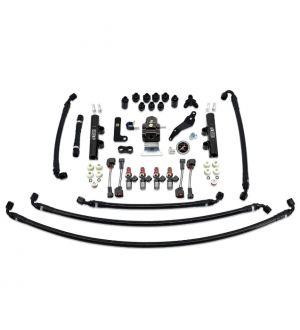 IAG PTFE Fuel System Kit w/ Injectors, Lines, FPR, Fuel Rails for 2008-14 WRX - 2600cc Injectors / Black Rails