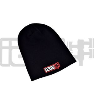 IAG Black Knit Slouch Beanie Cap with IAG Embroidered Logo
