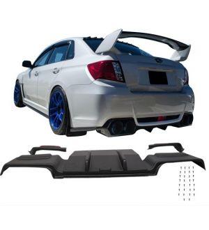 Ikon Motorsports 2011-2014 Subaru Impreza WRX/STi ABS Rear Diffuser Splitter+Exhaust Trims