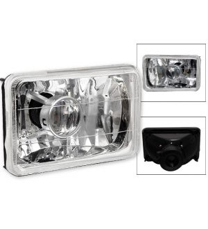 Ikon Motorsports 80-86 Cadillac Deville Clear Chrome Sealed Beam Projector Headlights 6 X 4 H4