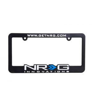 NRG Innovations License Plate Frame White w/ blue