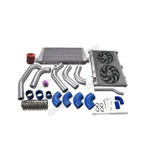 CX Racing Intercooler Piping Intake Radiator HardPipe Fan Kit For 1JZGTE VVTI 1JZ Swap 240SX S13 S14 Stock Turbo