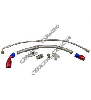 CX Racing Turbo Oil Line Feed Drain Return Kit For Mazda RX7 RX-7 SA FB 13B AN10