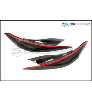 OLM GLOSS BLACK HEADLIGHT EYELIDS WITH RED LINE - 2015+ WRX / 2015+ STI