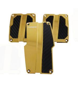 NRG Innovations Brushed Aluminum Sport Pedal Chrome Gold w/ Black Carbon MT