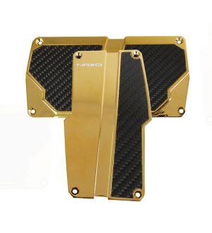 NRG Innovations Brushed Aluminum Sport Pedal Chrome Gold  w/ Black Carbon AT
