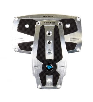 NRG Innovations Brushed Silver aliminum sport pedal w/ Black rubber inserts AT