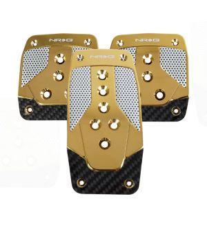 NRG Innovations Aluminum Sport Pedal Chrome Gold w/ Black Carbon MT