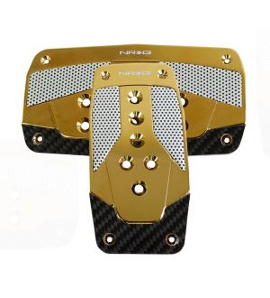 NRG Innovations Aluminum Sport Pedal Red w/ Chrome Gold Carbon AT