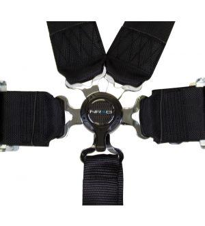 NRG Innovations 6 Pt 3inch Seat Belt Harness / Cam Lock- Black