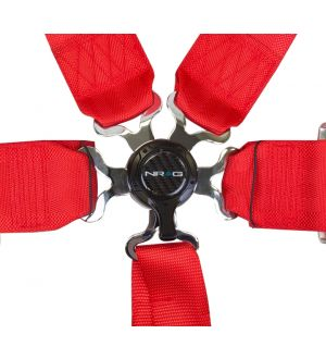 NRG Innovations 6 Pt 3inch Seat Belt Harness / Cam Lock- Red