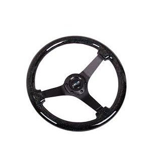 NRG Innovations Black Sparkled Wood Grain Wheel (3in Deep), 350mm, 3 spoke center in Black