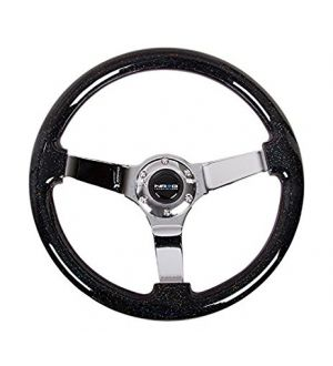 NRG Innovations Black Sparkled  Wood Grain Wheel (3in Deep), 350mm, 3 spoke center in Chrome