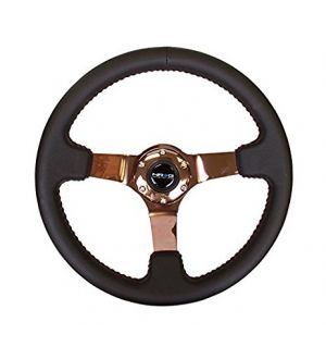 NRG Innovations 350mm Sport wheel  - Black Leather, Red Baseball Stitch, Rose Gold spoke
