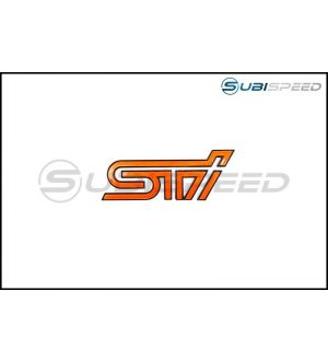 STI ORANGE TRUNK EMBLEM WITH MATTE BLACK BORDER - 2015+ WRX / 2015+ STI