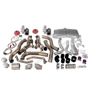 CX Racing Twin Turbo Header Manifold Downpipe Intercooler Kit For 82-92 Camaro SBC