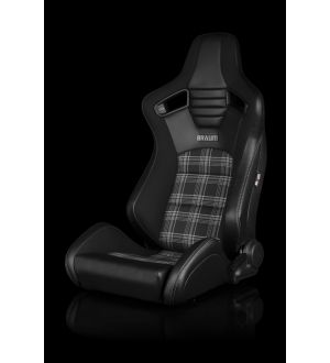 BRAUM ELITE-S SERIES SPORT SEATS - BLACK & GREY PLAID (GREY STITCHING) PAIR Universal - Planted Seat Bases and Mounting Hardware - 2015+ WRX / 2015+ STI