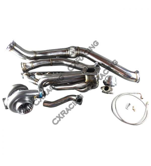 CX Racing GT35 Turbo Manifold Downpipe Kit for BMW E46 M52 Engine NA-T Top  Mount